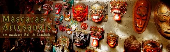 Banner com mascaras em madeira p/ decoração