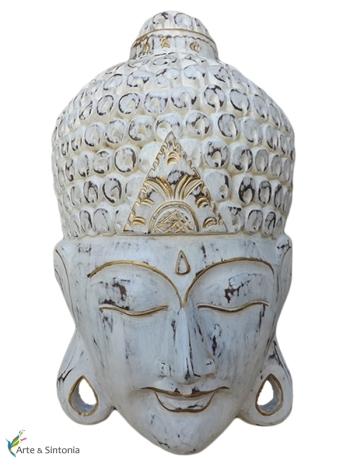 Mascara Buda em madeira p/ decoração