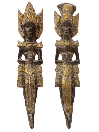 Casal Rama & Sita em Mdeira Pátina Gold