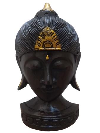 Cabeça de Buda em Madeira Teca da Indonésia