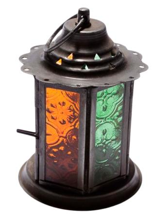 """Lanterna """"Sattva"""" Laranja e Verde para decoração com velas."""