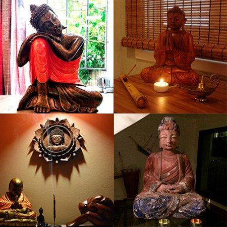 Esculturas de Buddha na decoração