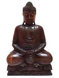 escultura buda em madeira bali