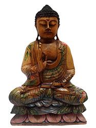 escultura de buda em madeira