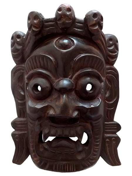 Mascara em madeira tibet mahakala