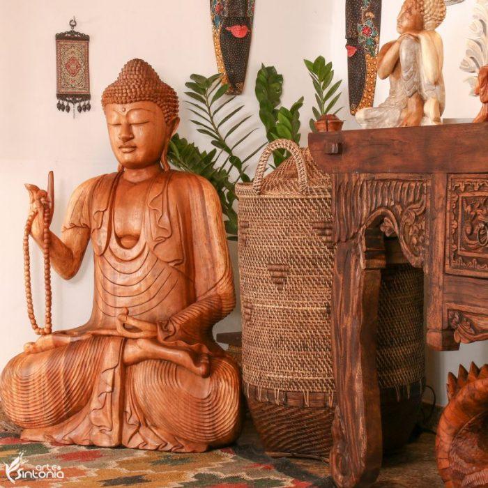 estatua-buda-decorar-arte-madeira-suar-balinesa