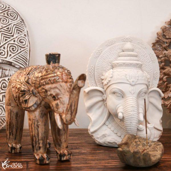 escultura-madeira-artesanal-indonésia-elefante-decoração