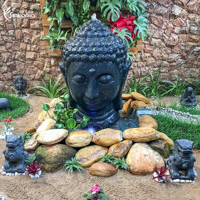 decoração-jardim-fonte-agua-buda-leão-fu-budista