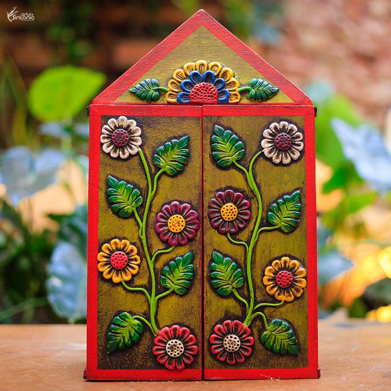 arte-peru-oratorio-madeira-entalhe-floral-artesanal