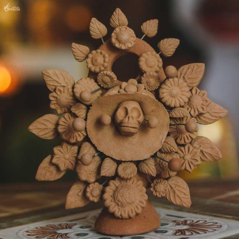 escultura-barro-rustico-arbol-de-la-vida-caveira-mexicana-katrina