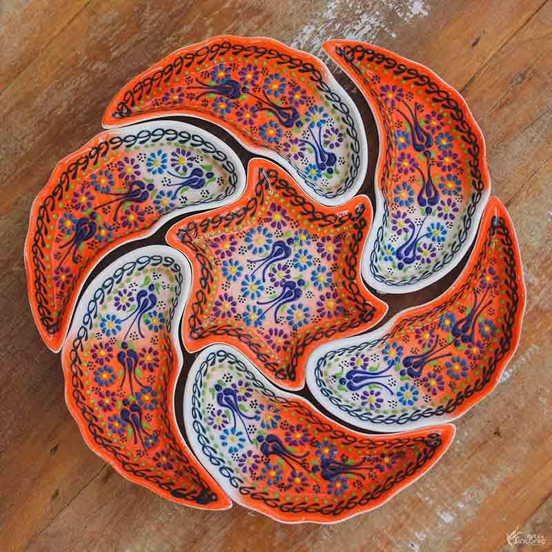 kit-porta-petiscos-personalizado-ceramica-colorida-pintura-floral-azul-turca