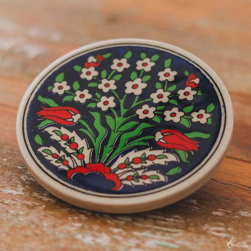 bolacha-suporte-copo-ceramica-artesanal-pintura-artistica-floral-turca